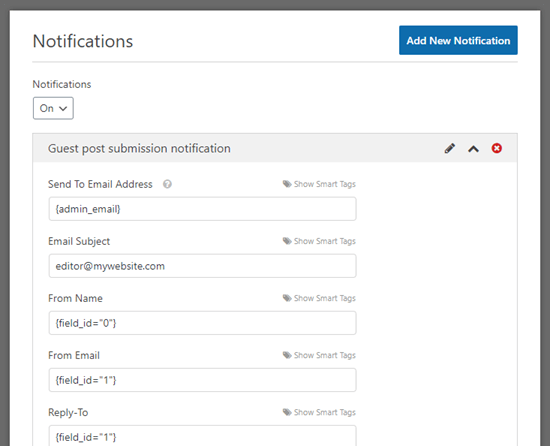 Configuration d'un e-mail de notification de publication d'invité dans WPForms
