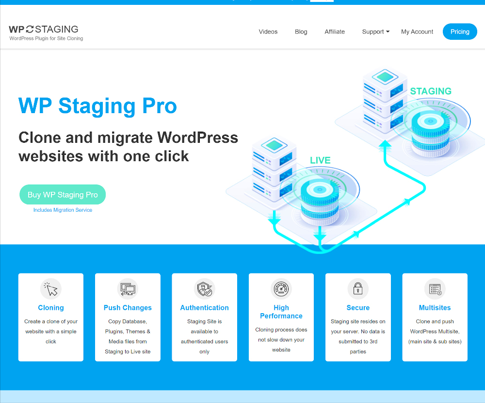 Plugins de mise en scène WordPress: WP Staging