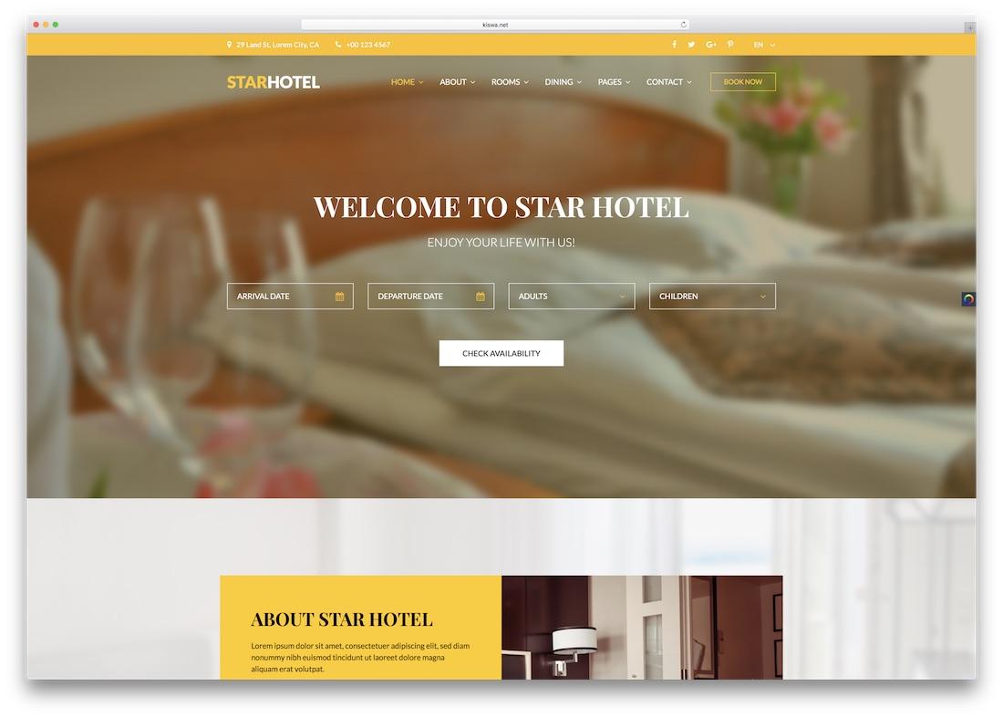modèle de site web html5 star hotel