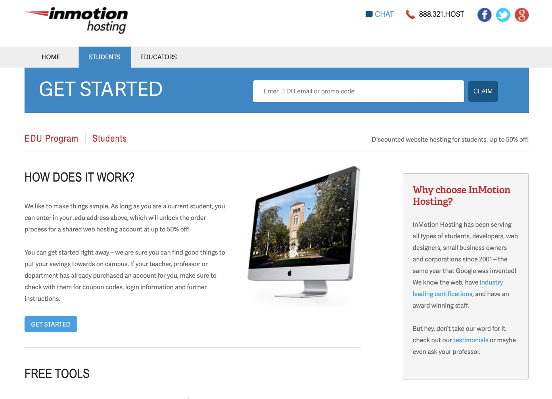 The details for InMotion's student discounted hosting