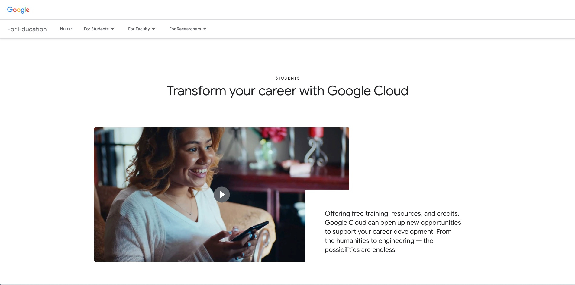 Google Cloud Platform offers special web hosting for students with discounts, credits, and tools