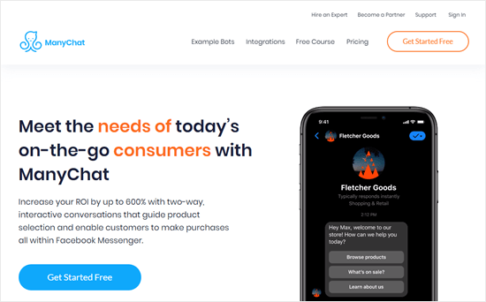The ManyChat website