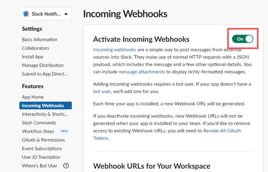 Switch the toggle on to activate incoming webhooks