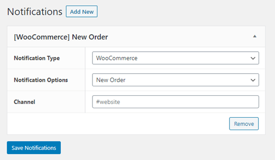 Setting up a new WooCommerce order notification for Slack