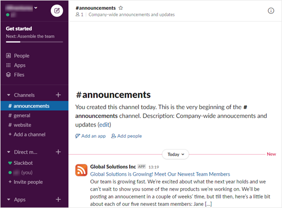 A new blog post notification shown in Slack