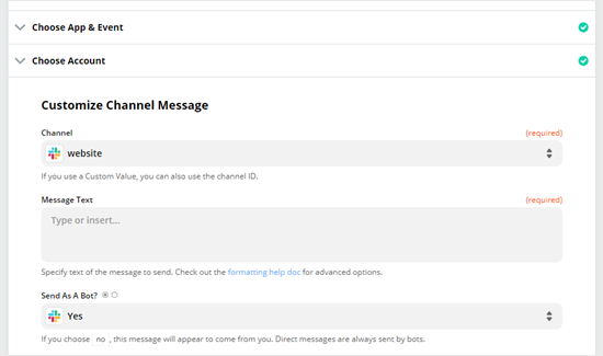 Choose the Slack channel that you want to receive form notifications to